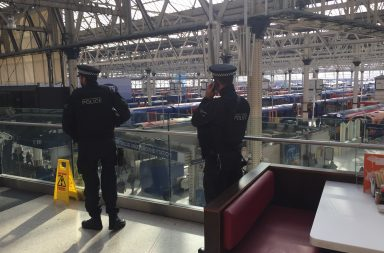 BTP police officers patrol London's Waterloo railway station. Credit: Martin Hoscik/Shutterstock.